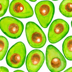 Avocado slices watercolor