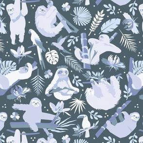 Easy living jungle sloths   blue