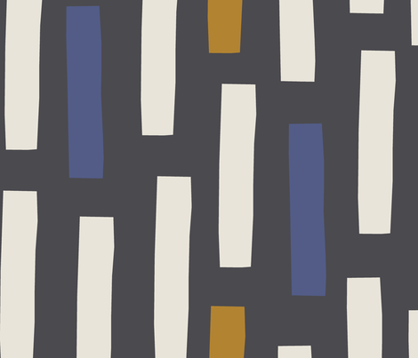jumbo scale block mustard, indigo and ivory on onyx  fabric by juliaschumacher on Spoonflower - custom fabric