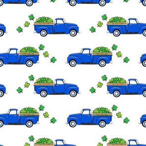 Vintage Truck with Shamrocks - St Patrick's Day - Blue