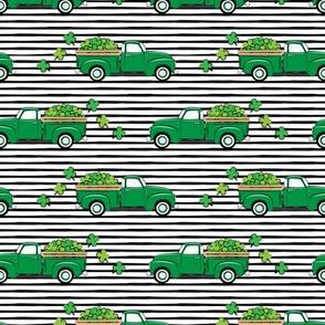 Vintage Truck with Shamrocks - St Patrick's Day - Green on Black Stripes