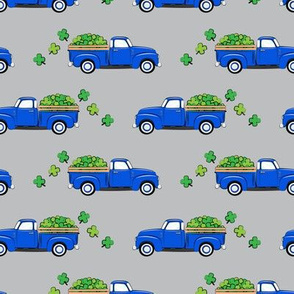 Vintage Truck with Shamrocks - St Patrick's Day - Blue on Grey