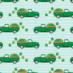 Vintage Truck with Shamrocks - St Patrick's Day - Green on Mint Stripes
