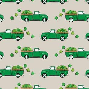 Vintage Truck with Shamrocks - St Patrick's Day - Green on Beige
