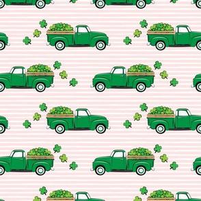 Vintage Truck with Shamrocks - St Patrick's Day - Green on Pink Stripes