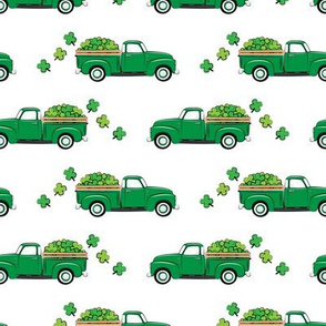 Vintage Truck with Shamrocks - St Patrick's Day - Green
