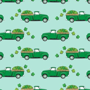 Vintage Truck with Shamrocks - St Patrick's Day - Green on Mint