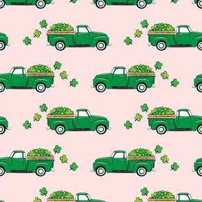 Vintage Truck with Shamrocks - St Patrick's Day - Green on Pink
