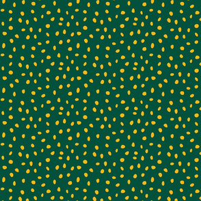 dalmation dots gold on green