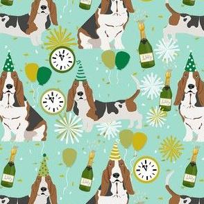 basset hound new years eve fabric - cute nye dog fabric, dog, dogs, basset hounds, cute dogs, cute dog - mint