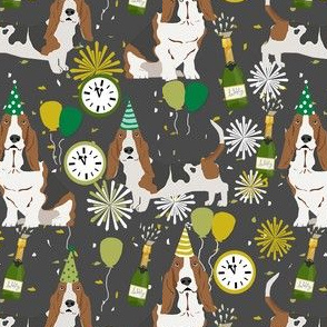 basset hound new years eve fabric - cute nye dog fabric, dog, dogs, basset hounds, cute dogs, cute dog - grey