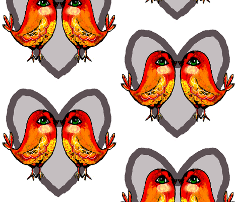 love birds 2 fabric by the_hoarder's_art_room on Spoonflower - custom fabric