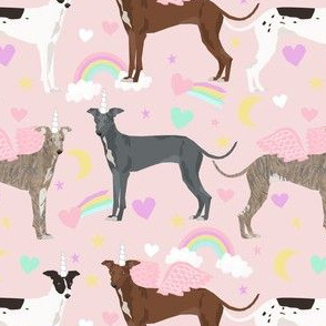 italian greyhound unicorn pastel rainbow fabric - cute dog fabric, italian greyhound fabric, pastel unicorn fabric, -  pastel pink