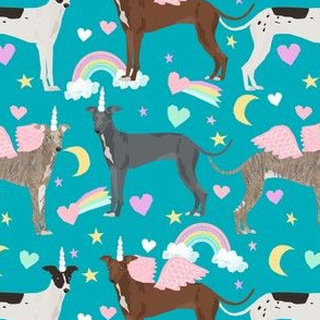 italian greyhound unicorn pastel rainbow fabric - cute dog fabric, italian greyhound fabric, pastel unicorn fabric, - peacock blue