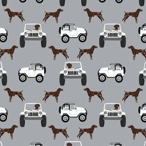 SMALL - German Shorthaired pointers adventure fabric - grey