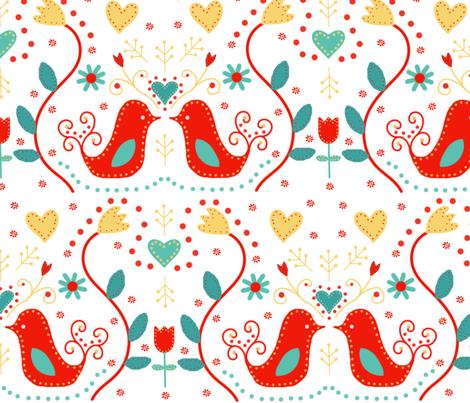 scandinavian birdies fabric by the_kitten_is_in on Spoonflower - custom fabric