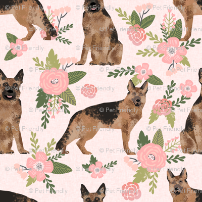 SMALL - german shepherd pet quilt d dog fabric collection floral