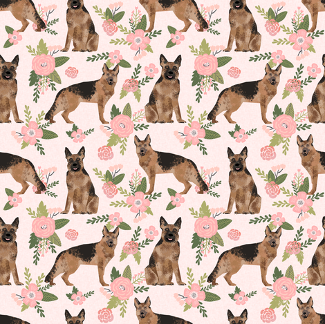SMALL - german shepherd pet quilt d dog fabric collection floral fabric by petfriendly on Spoonflower - custom fabric