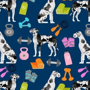 great dane fitness pattern fabric - harlequin great dane, dog, dog fitness, great dane workout, workout fabric - navy