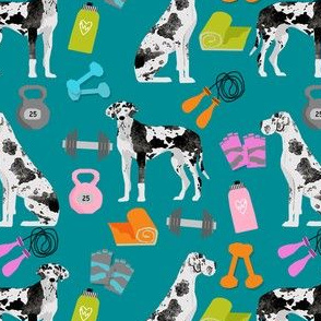 great dane fitness pattern fabric - harlequin great dane, dog, dog fitness, great dane workout, workout fabric - teal