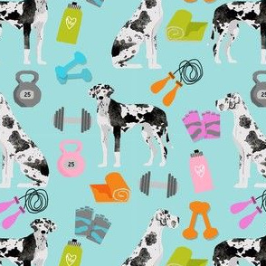great dane fitness pattern fabric - harlequin great dane, dog, dog fitness, great dane workout, workout fabric - light blue