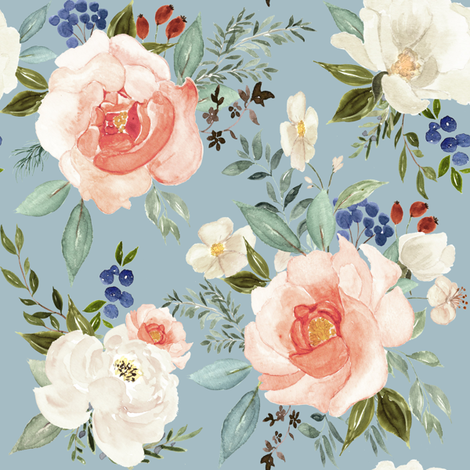 """8"""" Sweet Spring Florals // Tower Gray Blue fabric by hipkiddesigns on Spoonflower - custom fabric"""