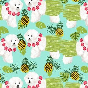 bichon frise hula dog fabric - hula, hawaii, dog, dogs, hula dog, bichon fabric -  mint
