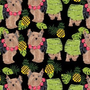 yorkie hula dog fabric - yorkshire terrier dog fabric, yorkie hula fabric , pineapple hawaii fabric - black