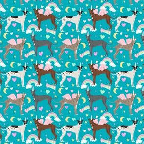 SMALL - italian greyhound unicorn fabric - pastel unicorn rainbow dog, dogs fabric, dog design  - cute design peacock blue