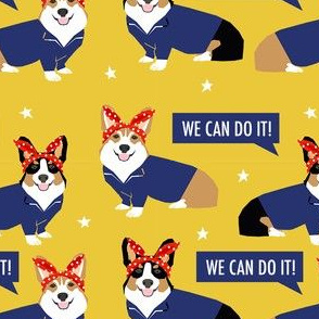 corgi rosie fabric - rosie the riveter dog pattern, corgi dog fabric, corgi costume fabric - yellow