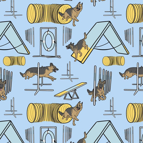 Simple German Shepherd agility dogs - blue