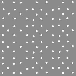 polka dots - dark gray white