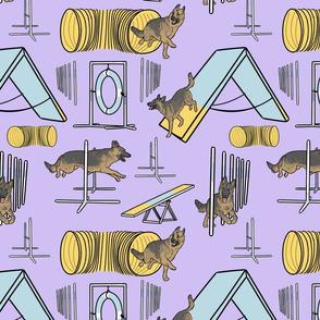 Simple sable German Shepherd agility dogs - purple