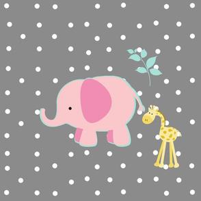 pink outline mint elephant friends on gray white polka dot - XL 1951