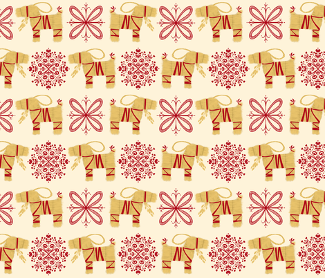 Swedish Christmas Straw Goats on Cream fabric by chrissy_philbrick on Spoonflower - custom fabric