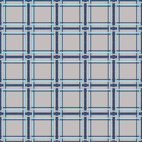 Sapphire Blue and Silver mini plaid on gray final