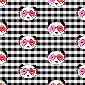 panda valentines fabric - sweet dots fabric - panda valentines day fabric, cute valentines day design - black check