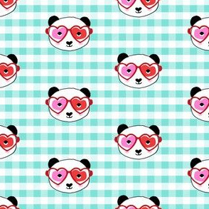 panda valentines fabric - sweet dots fabric - panda valentines day fabric, cute valentines day design - candy mint check