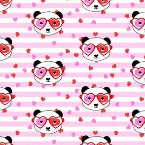 panda valentines fabric - sweet dots fabric - panda valentines day fabric, cute valentines day design - stripes and hearts