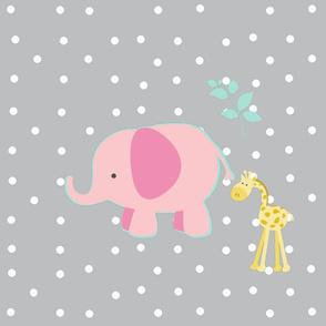 pink outline mint elephant friends on light gray white polka dot - XL 1951