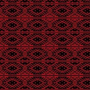folk pattern red-black