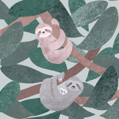 Sloths - larger scale - green - half drop