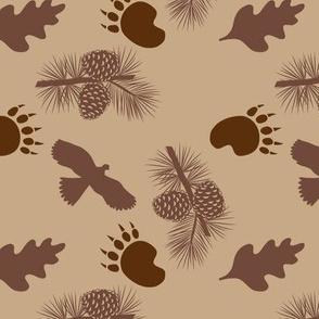 Bear Paw Hawk Pine Cones Tan Large