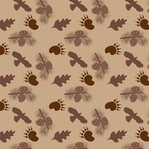 Bear Paw Hawk Pine cones Tan Small