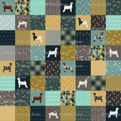 Cheater Quilt - Teal Goats - Large
