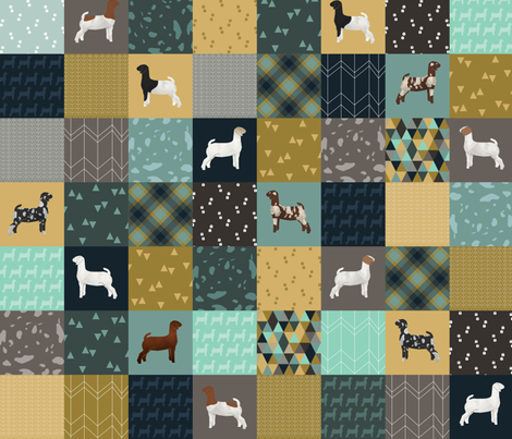Cheater Quilt - Teal Goats - Large fabric by thecraftyblackbird on Spoonflower - custom fabric