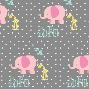 pink elephant friends on gray white polka dot - SMALL525 PERSONALIZED for Sofia