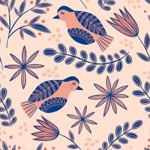 Pink and Blue Scandinavian Birds