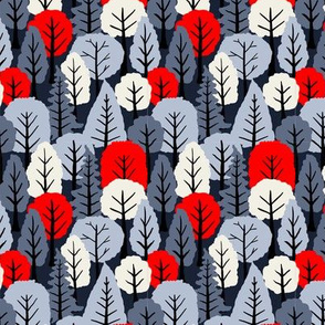 Red Navy and Ivory Trees