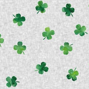 shamrocks - st patricks day - good luck grey linen